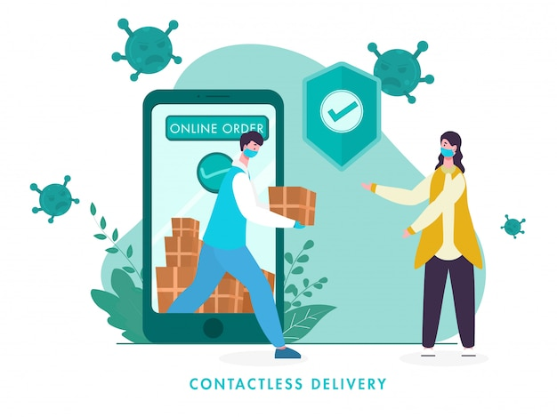Online contactless delivery order from smartphone with courier boy giving parcel to woman and approval security shield for avoid coronavirus.