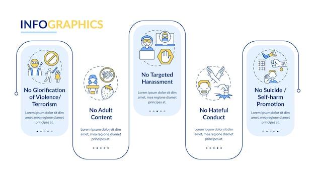 온라인 대화 안전 infographic 템플릿입니다. 폭력, 테러 프리젠테이션 디자인 요소가 없습니다.