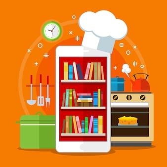 온라인 요리 책. 웹에서 조리법을 검색하는 개념. 평면 디자인