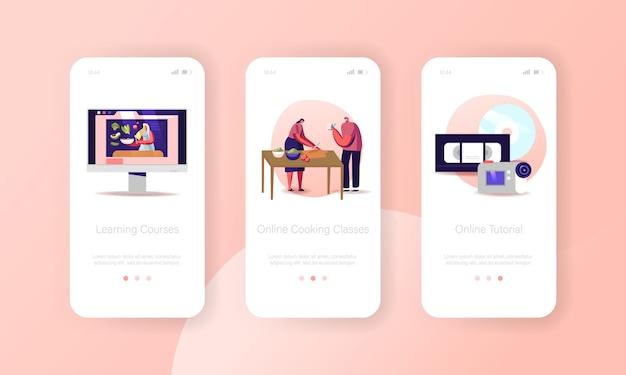 オンライン料理教室モバイルアプリページオンボード画面テンプレート。キャラクターはビデオコースを見て教育を受ける
