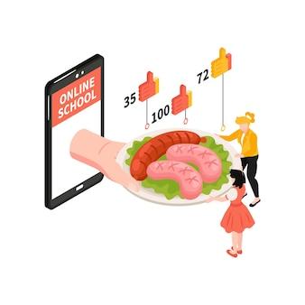 접시에 스마트폰 소시지와 인간 캐릭터 3d가 있는 온라인 요리 학교 아이소메트릭 구성