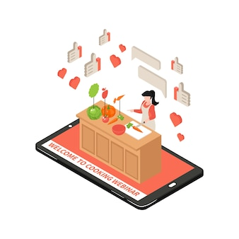 Online cooking school isometric illustration with 3d gadget and woman