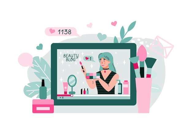 Online cosmetic and makeup video tutorial cartoon illustration