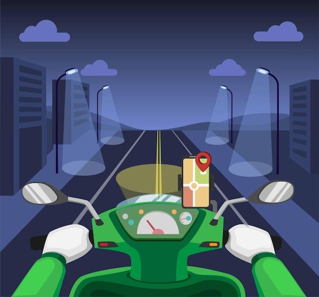Курьерский транспорт онлайн. езда на приборной панели ночного мотоцикла с картой gps на концепции смартфона в иллюстрации шаржа