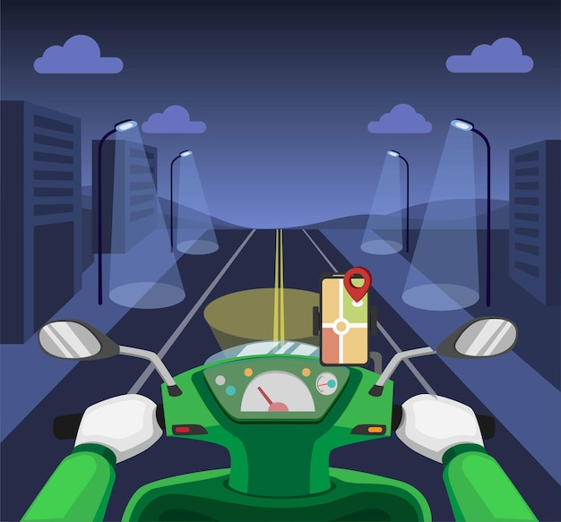 Online courier transportation.riding night  motorcycle dashboard with gps map on smartphone concept in cartoon illustration