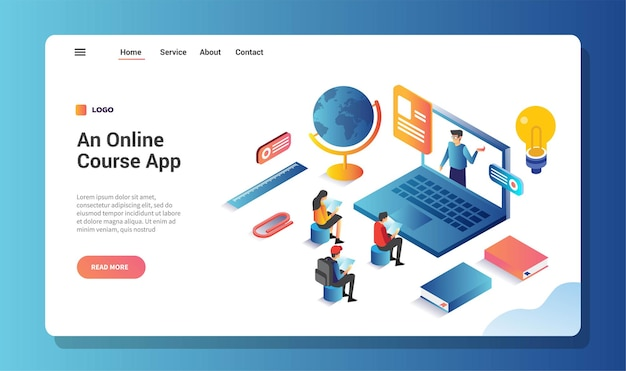 Online course application, landing page or web template