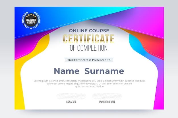 Шаблон сертификата об окончании онлайн-курса. векторные иллюстрации eps10.