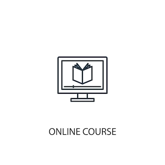 Online course concept line icon. simple element illustration. online course concept outline symbol design. can be used for web and mobile ui/ux