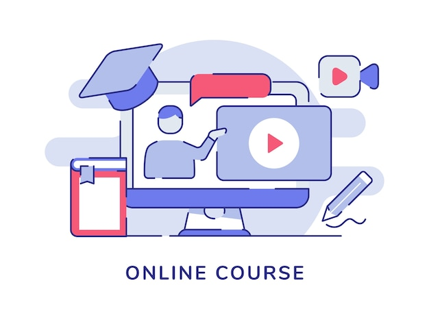 Online course concept with men speaking on video tutorial with flat outline style