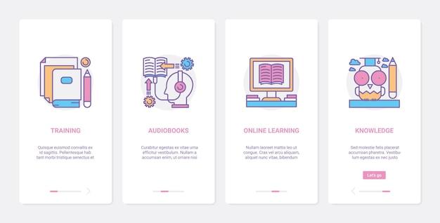 オンラインコース、遠隔教育技術。 ux、uiオンボーディングモバイルアプリセットの学習とウェビナーオーディオブックまたはインターネット知識記号によるトレーニング