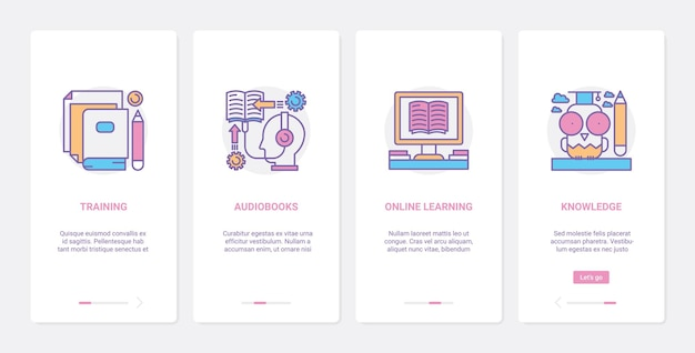 Online course, distant education technology. ux, ui onboarding mobile app set learning and training with webinar audiobooks or internet knowledge symbols