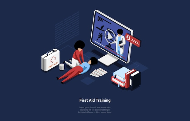 Online course of first aid training illustration in cartoon 3d style.