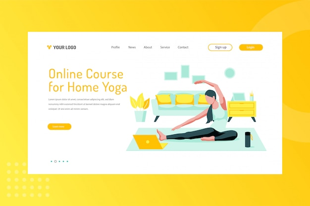 Online course for home yoga illustration on landing page