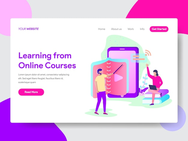 Online course illustration concept for web pages