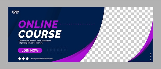 Online course social media cover banner template promotion