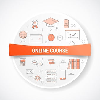 Online course technology with icon concept with round or circle shape  illustration