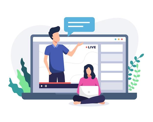 온라인 코스 튜토리얼 일러스트레이션. 노트북에 남자와 온라인 과정 개념입니다. 노트북 화면에 남자 교사, 여자 온라인 과정을보고. 웹 코스 또는 튜토리얼 개념. 플랫 스타일로