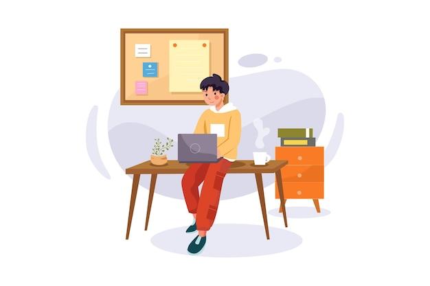 机の上に座っている男の子とのオンラインコース
