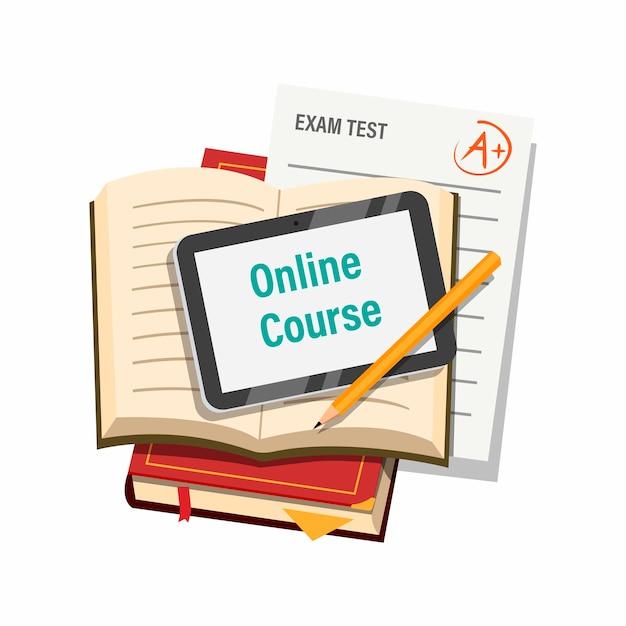 Онлайн-курс с вкладкой книги и концепцией символа экзаменационной бумаги в иллюстрации шаржа, изолированной на белом фоне