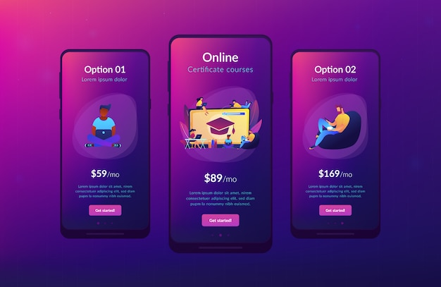 Online courses app interface template.