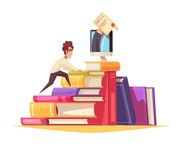 Online courses cartoon composition with graduate student climbing textbooks pile to get diploma from monitor