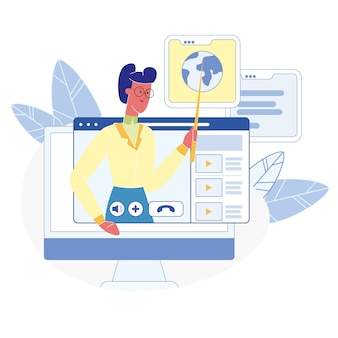 Online courses, classes flat illustration