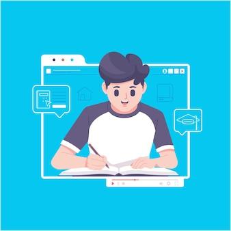 온라인 과정 개념 그림 배경