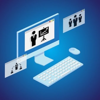 Online courses concept with laptop and windows. vector.