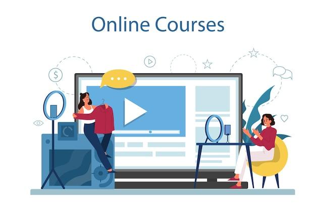オンラインコース。デジタルトレーニングと遠隔教育。コンピュータを使ってインターネットで勉強する。ビデオウェビナー。漫画スタイルの孤立したイラスト