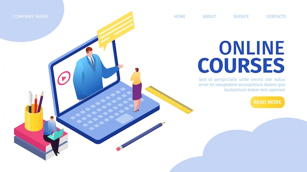 Онлайн-курсы электронное обучение для людей, находящихся на расстоянии, с помощью иллюстрации целевой веб-страницы в интернете. дистанционное образование, мужчина-учитель на экране ноутбука, женщина смотрит онлайн-курс. концепция веб-учебников.