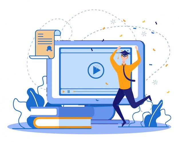 수료증을 가진 학생을 졸업하는 온라인 과정
