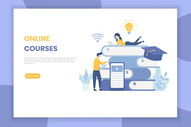 Online courses illustration landing page for site