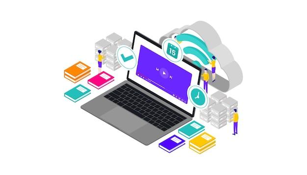 Онлайн-курсы изометрическая трехмерная векторная иллюстрация настольный веб-интерфейс пользователя, подходит для веб-баннеров, диаграмм, инфографики, книжной иллюстрации, игровых ресурсов и других графических ресурсов