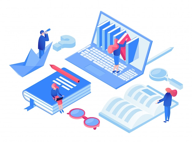 Online courses isometric  concept