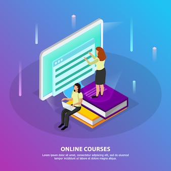 Online courses isometric  with two woman studying distantly using desktop pc