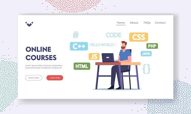オンラインコースのランディングページテンプレート。プログラミング言語、webサイト、またはソフトウェアを開発するラップトップでのプログラマーキャラクターの作業。コーディングとコンピューティング教育。漫画の人々のベクトル図