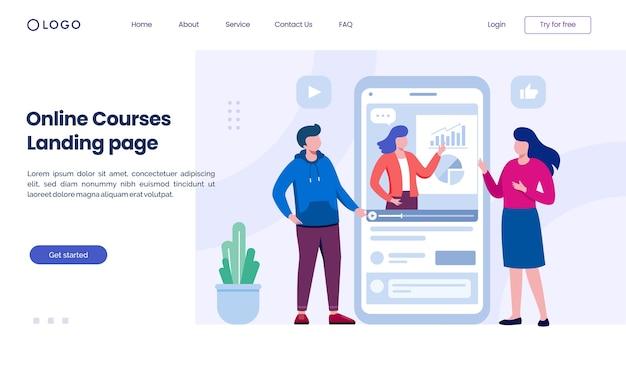 Шаблон иллюстрации веб-сайта целевой страницы онлайн-курсов