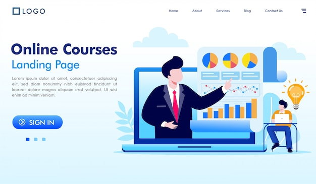 Online courses landing page website illustration vector