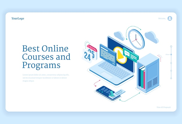 Online courses and programs isometric landing page equipment for distant education and internet studying