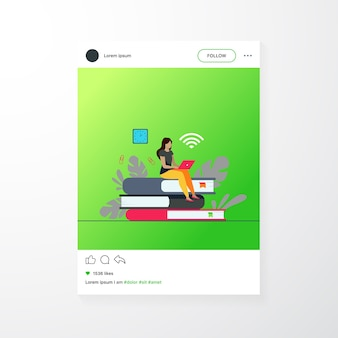 Online courses and student concept. woman sitting on stack of book and using laptop for studying in internet. flat vector illustration for distance learning, knowledge, school topics
