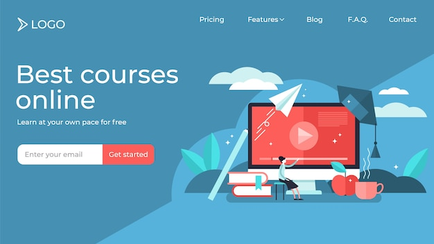 Online courses tiny person vector illustration landing page template design