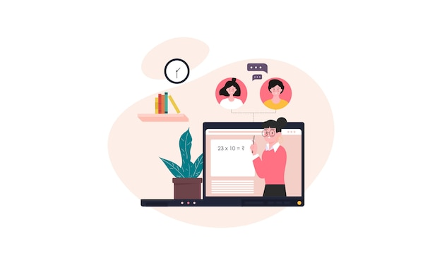 Online courses and tutorials illustration concept background