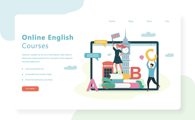 Online courses web banner concept. english language lesson