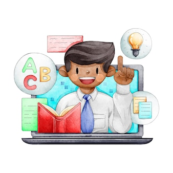 Online courses with teacher illustrated