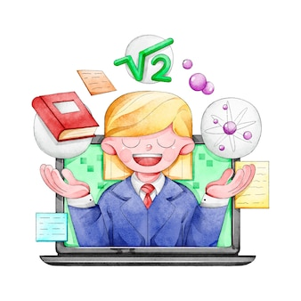 Online courses with teacher illustration