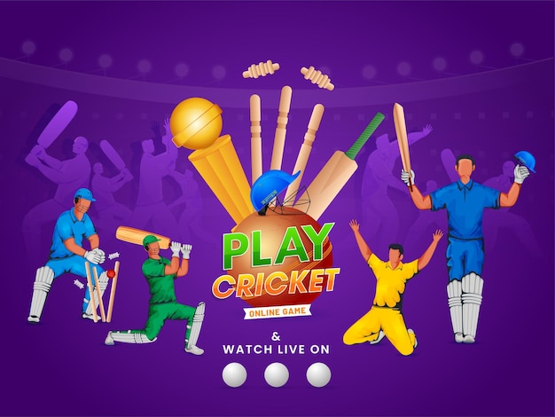 Online cricket game poster design with cricketer players in action pose