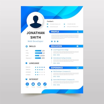 Online curriculum vitae template with blue elements