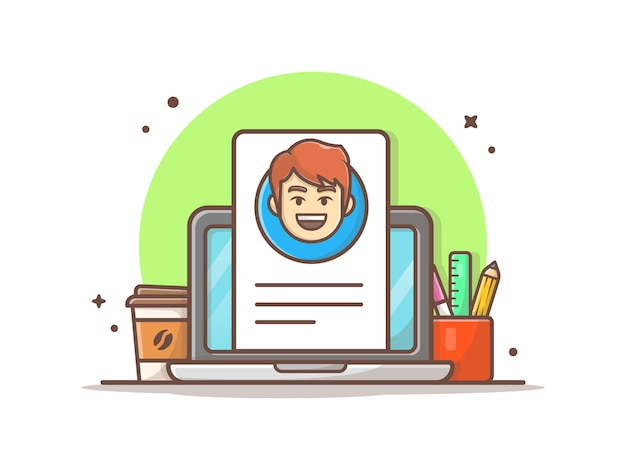 Online curriculum vitae with character vector  illustration