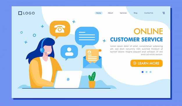 Online customer service landing page website illustration