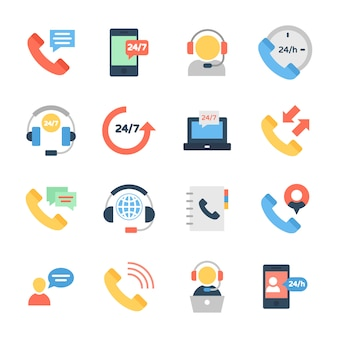 Online customer support flat icons